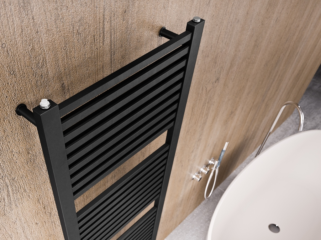 Design Badkamer Matten : Sc design radiator in mat zwart rvs stone company